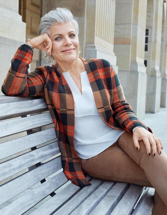 Birgit Schrowange Kollektion Strickjacke mit Karo-Muster | ADLER Mode Onlineshop