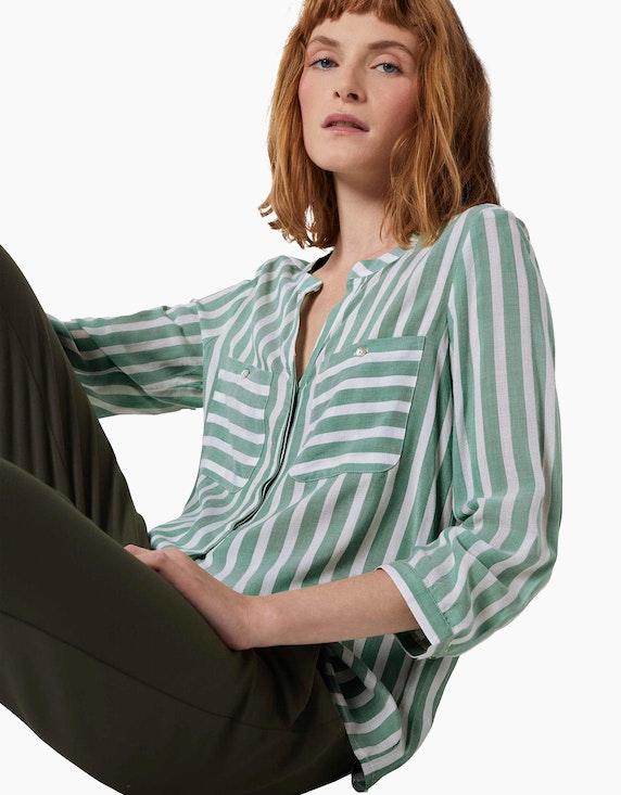 Tom Tailor Streifen-Bluse mit Henley-Kragen aus reiner Viskose | ADLER Mode Onlineshop
