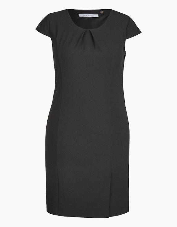 Steilmann Woman Etuikleid mit gelegten Falten am Ausschnitt und Flügelärmeln in Schwarz   ADLER Mode Onlineshop