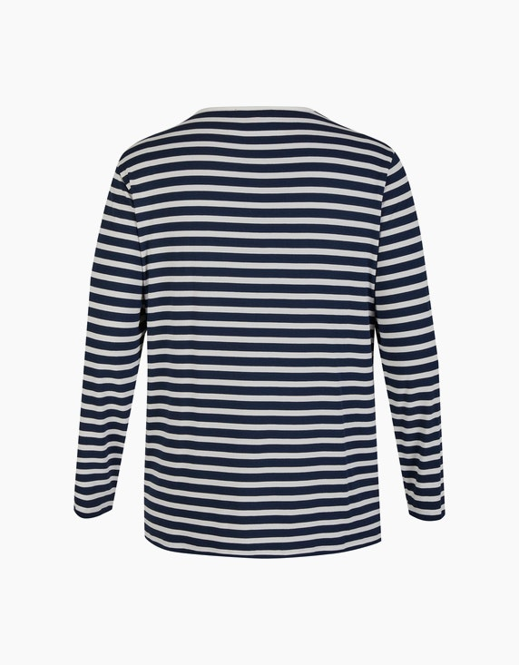 Thea Streifen-Shirt mit Schriftzug und Pailletten   ADLER Mode Onlineshop