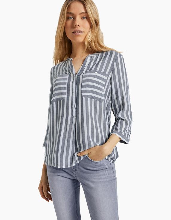 Tom Tailor Streifen-Bluse mit Henley-Kragen aus reiner Viskose   ADLER Mode Onlineshop