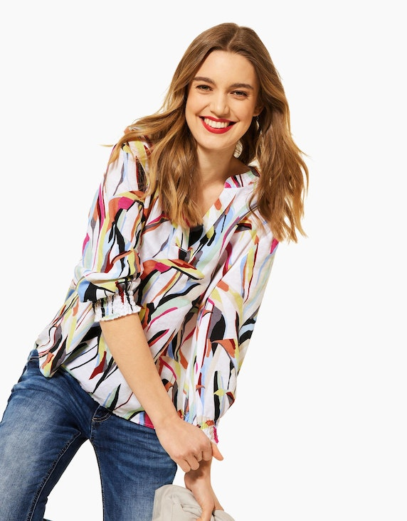 Street One Bluse mit Allover-Print, Leinen-Baumwoll-Mix | ADLER Mode Onlineshop