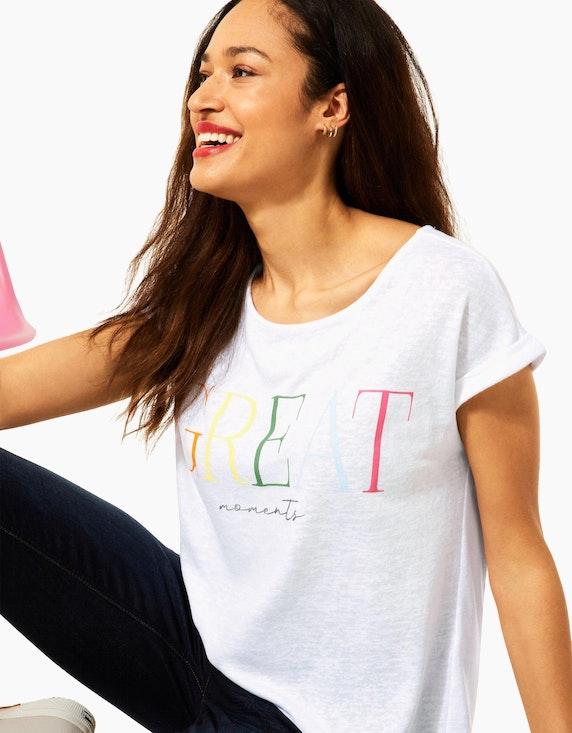 Street One kurzes Shirt mit Letterprint | ADLER Mode Onlineshop
