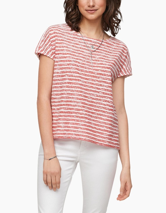 s.Oliver Shirt mit Streifen und Ausbrennermuster | ADLER Mode Onlineshop
