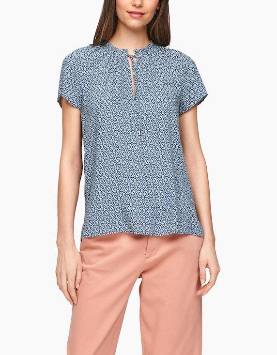 s.Oliver Tunika-Bluse mit Allover-Muster und Rüschen | ADLER Mode Onlineshop