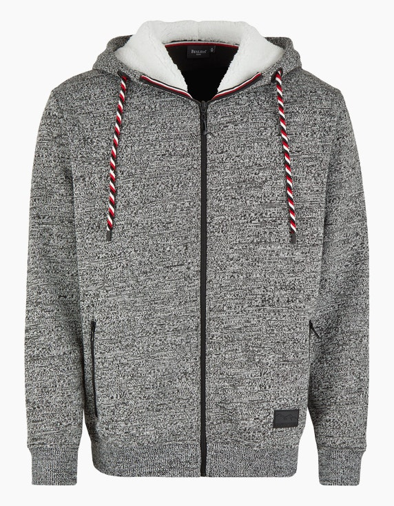 Bexleys man Melierte Fleecejacke mit Kapuze in Grau/Schwarz/Weiß | ADLER Mode Onlineshop