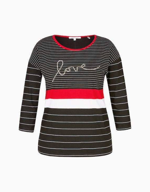 Steilmann Woman Streifen-Shirt mit Wording in Schwarz/Weiß/Rot | ADLER Mode Onlineshop