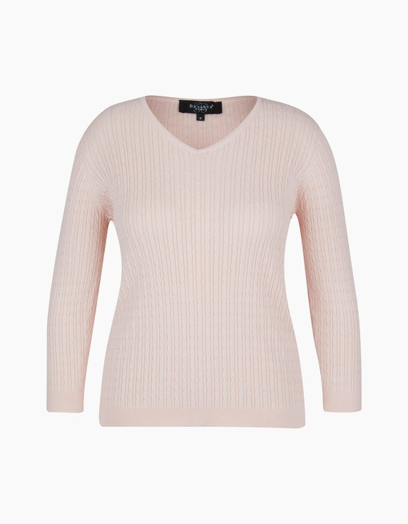 Bexleys woman Pullover mit Zopfmuster in Rosa | ADLER Mode Onlineshop