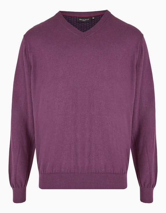 Bexleys man Klassischer Strickpullover in Aubergine | ADLER Mode Onlineshop