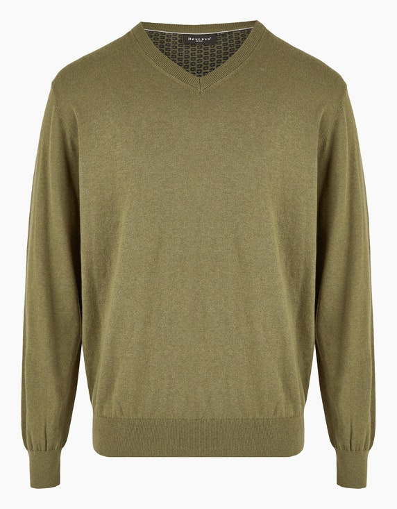 Bexleys man Klassischer Strickpullover in Oliv | ADLER Mode Onlineshop