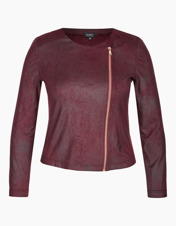 Viventy Lederimitat-Jacke mit Reißverschluss in Bordeaux | ADLER Mode Onlineshop