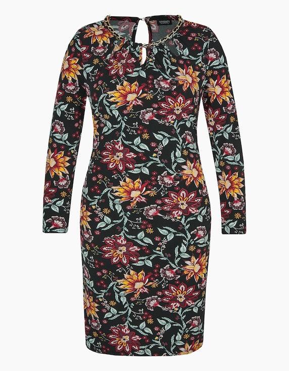 Viventy Jersey-Kleid mit floralem Druck und Ketten-Detail in Schwarz/Bordeaux/Khaki | ADLER Mode Onlineshop