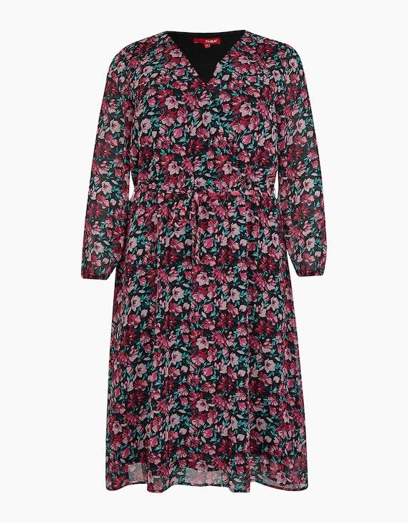 Thea Kleid mit floralem Muster, Midi-Länge in Schwarz/Pink/Grün | ADLER Mode Onlineshop