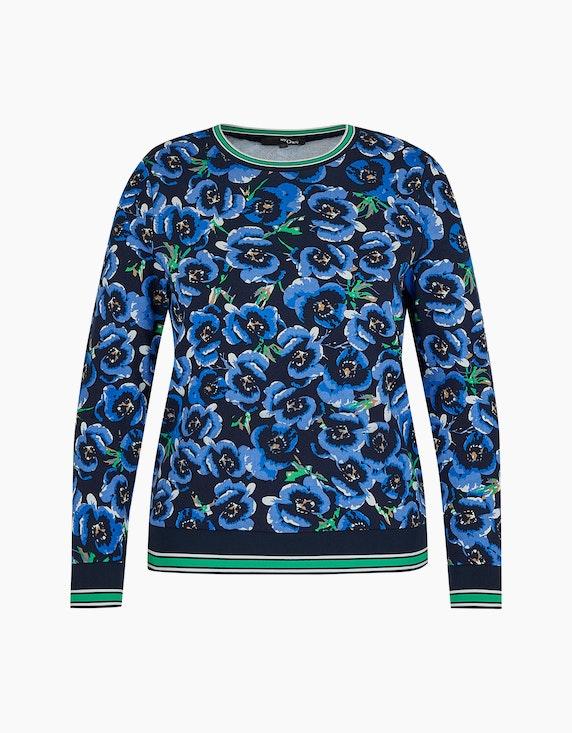 MY OWN Sweatshirt mit Blumen-Muster in Marine/Blau/Grün | ADLER Mode Onlineshop
