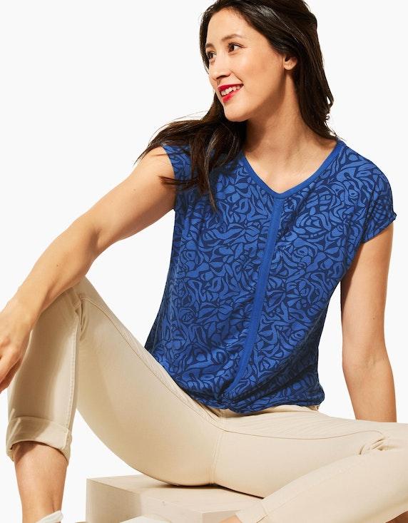 Street One Gemustertes Shirt mit Kicknaht und Knotendetail | ADLER Mode Onlineshop