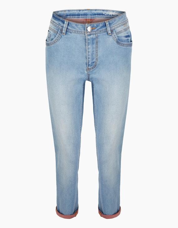 Steilmann Woman 7/8 Jeans mit kontrastfarbener Innenseite in Bleached Denim | ADLER Mode Onlineshop