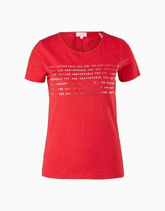 s.Oliver Basic-Shirt mit Frontprint, reine Baumwolle   ADLER Mode Onlineshop