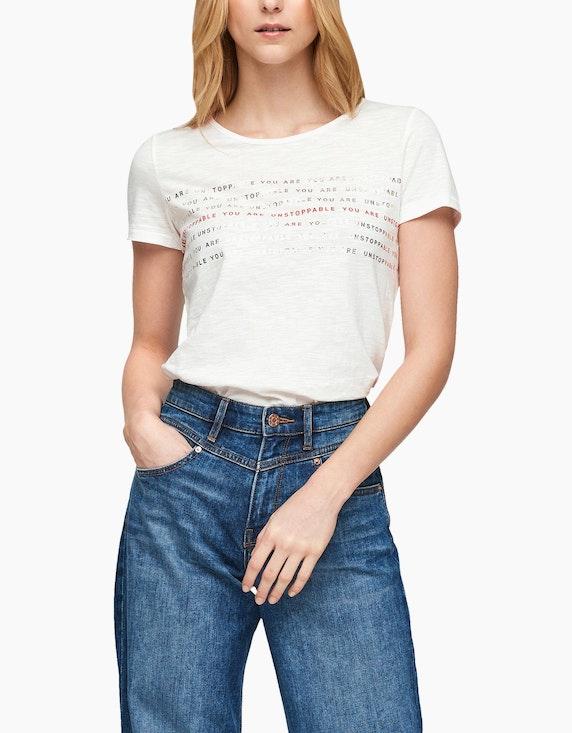 s.Oliver Basic-Shirt mit Frontprint, reine Baumwolle | ADLER Mode Onlineshop