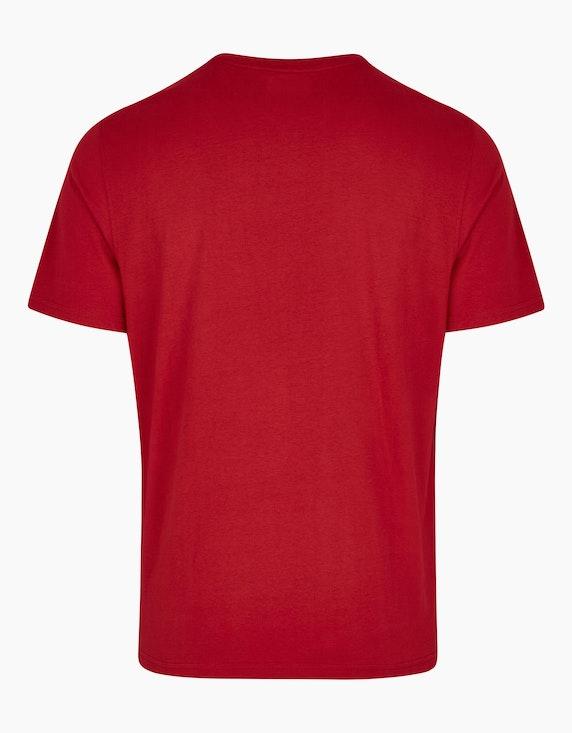 Bexleys man T-Shirt mit Knopfleiste und dekorativem Brustprint | ADLER Mode Onlineshop