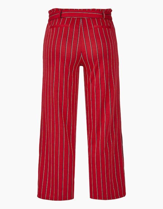 Via Cortesa Jersey-Streifen-Hose mit geradem, weitem Bein und Stoffgürtel | ADLER Mode Onlineshop