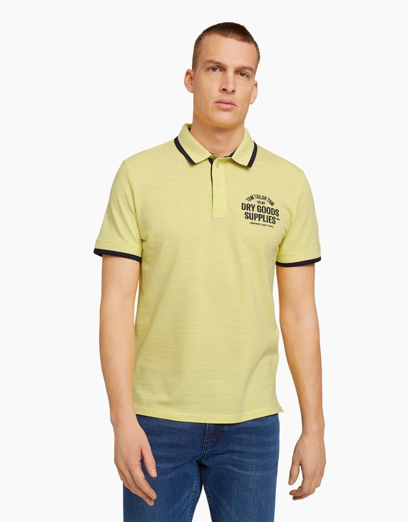 Tom Tailor Meliertes Poloshirt mit Stickerei | ADLER Mode Onlineshop