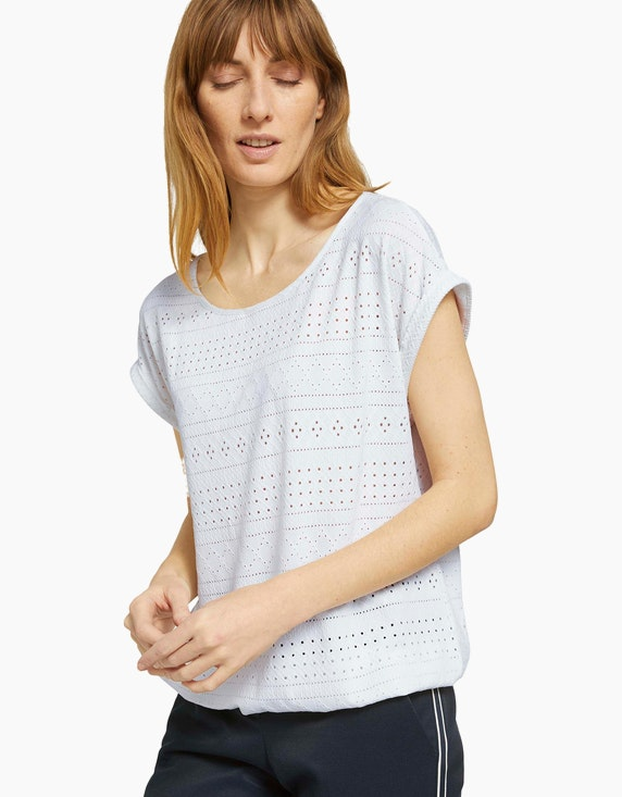 Tom Tailor Elastisches T-Shirt mit Lochmuster   ADLER Mode Onlineshop