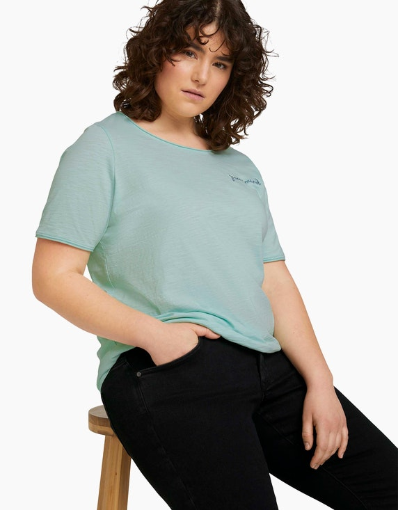 My True Me T-Shirt mit Stickerei aus Bio-Baumwolle | ADLER Mode Onlineshop