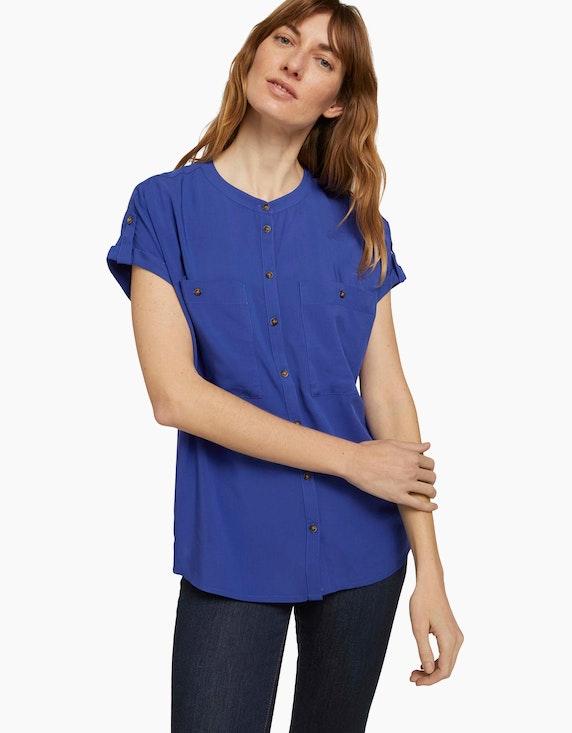 Tom Tailor Kurzarm-Hemdbluse mit Taschen | ADLER Mode Onlineshop