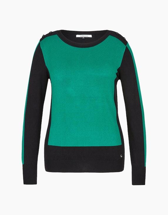 Steilmann Woman Pullover im Color-Block-Look in Grün/Schwarz   ADLER Mode Onlineshop