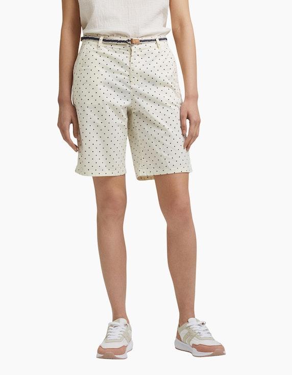 Esprit Gemusterte Bermuda-Shorts mit Gürtel, Baumwoll-Stretch | ADLER Mode Onlineshop