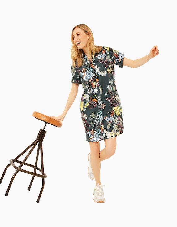 CECIL Hemdblusen-Kleid mit Blumen-Muster, Leinen | ADLER Mode Onlineshop