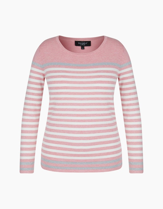 Bexleys woman Pullover mit Kontraststreifen in Silber in Rosa/Weiß/Silber | ADLER Mode Onlineshop