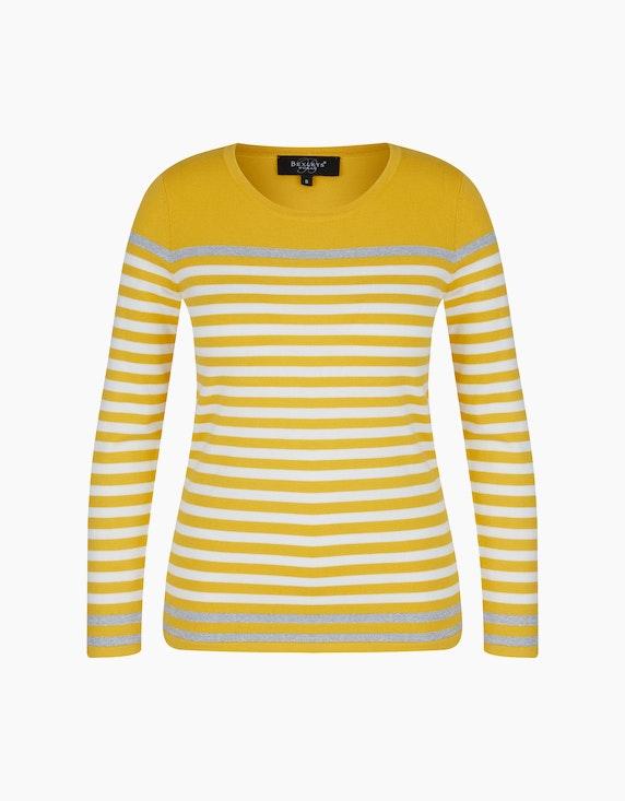 Bexleys woman Pullover mit Kontraststreifen in Silber in Gelb/Weiß/Silber | ADLER Mode Onlineshop