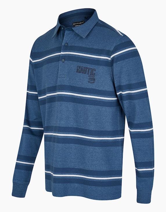 Bexleys man Langarm-Poloshirt gestreift mit grindle-Optik | ADLER Mode Onlineshop