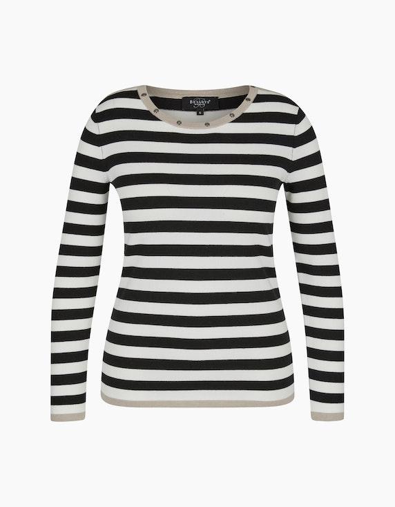 Bexleys woman Pullover mit dekorativen Ösen am Ausschnitt in Schwarz/Weiß/Beige | ADLER Mode Onlineshop