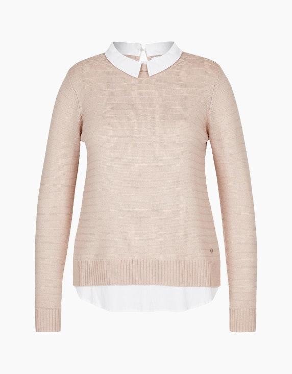 Steilmann Woman Pullover mit Bluseneinsatz in Rosa/Weiß | ADLER Mode Onlineshop