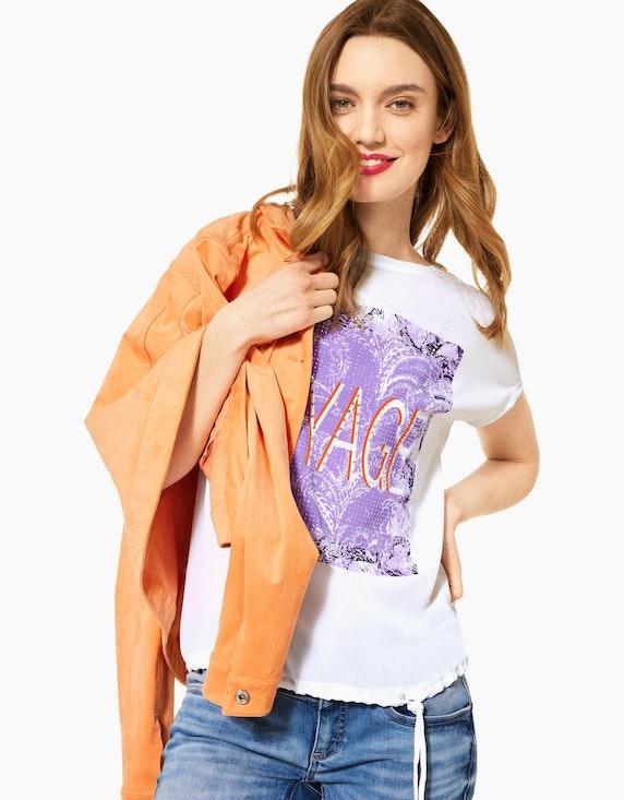 Street One Shirt mit Frontprint und Ziersteinen | ADLER Mode Onlineshop