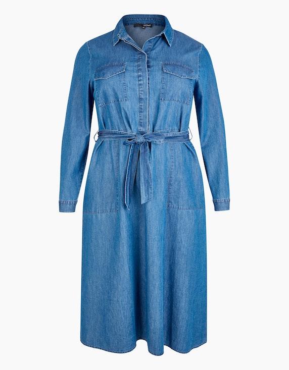MY OWN Kleid im Jeans-Look mit Bindegürtel in Blue Denim | ADLER Mode Onlineshop