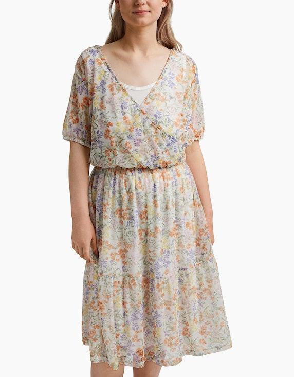 Esprit Mesh-Kleid mit Volant und Print | ADLER Mode Onlineshop