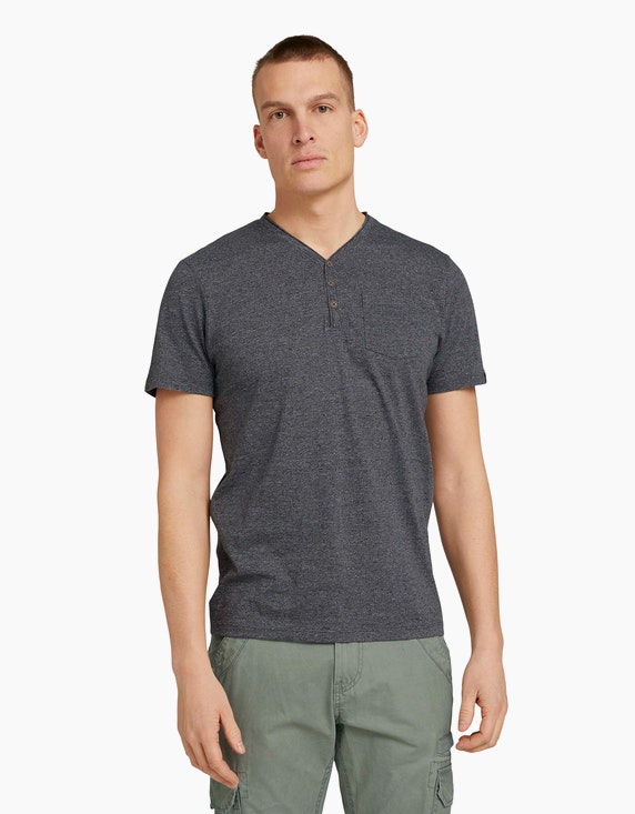 Tom Tailor Henley T-Shirt in Melange Optik   ADLER Mode Onlineshop