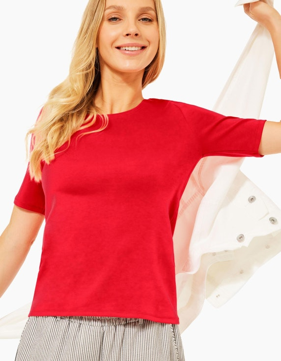 CECIL T-Shirt in Unifarbe | ADLER Mode Onlineshop