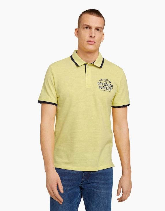 Tom Tailor Meliertes Poloshirt mit Stickerei   ADLER Mode Onlineshop