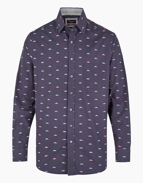 Bexleys man Freizeithemd mit Sneakerprint, MODERN FIT in Blau | ADLER Mode Onlineshop