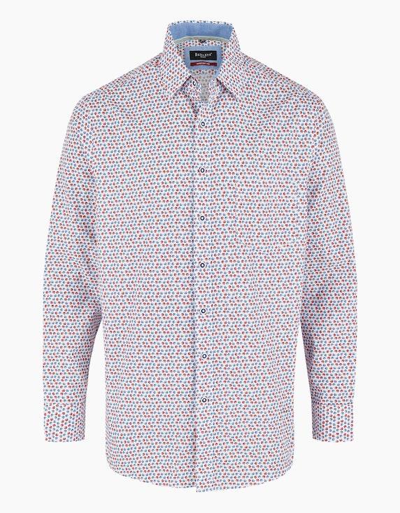 Bexleys man Freizeithemd mit Basketballprint, MODERN FIT in Weiß/Rot/Blau | ADLER Mode Onlineshop