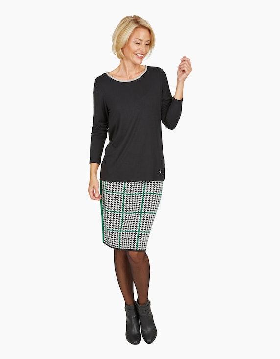 Steilmann Woman Jacquard-Rock mit Hahnentritt-Muster in Schwarz/Weiß/Grün   ADLER Mode Onlineshop