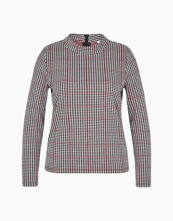 Steilmann Woman Jacquard-Shirt mit Hahnentritt-Muster in Schwarz/Weiß/Rot | ADLER Mode Onlineshop