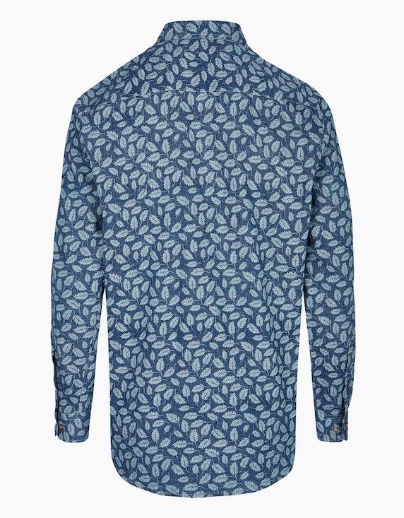 Adler Collection Twillhemd in Jeansoptik mit Blätterprint, MODERN FIT   ADLER Mode Onlineshop