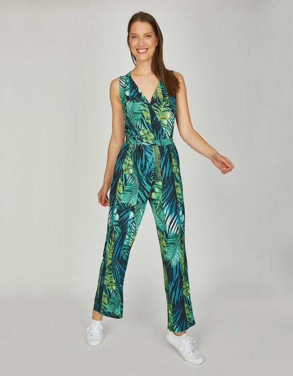 MY OWN Jumpsuit in Wickeloptik in grün Blätterprint | ADLER Mode Onlineshop
