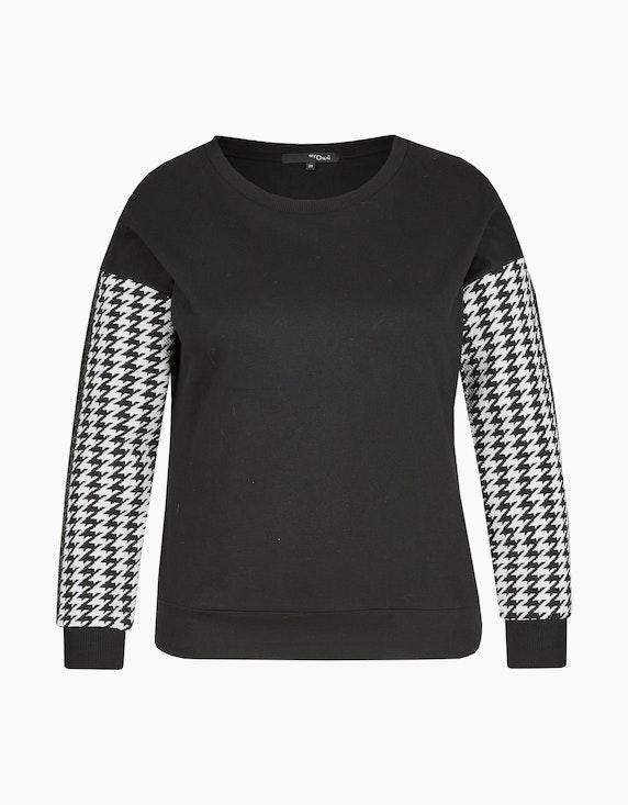 MY OWN Sweatshirt mit Hahnentrittmuster an Ärmeln in Schwarz/Weiß   ADLER Mode Onlineshop