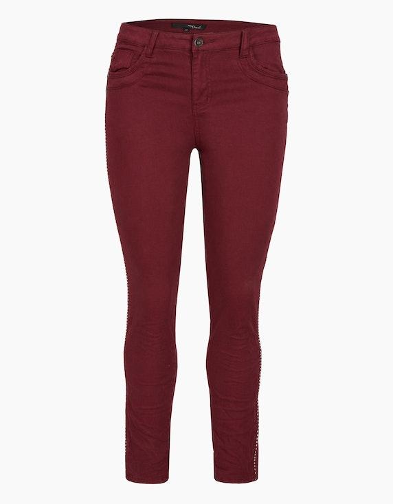 MY OWN Hose mit Galonstreifen aus Ziernieten in Bordeaux   ADLER Mode Onlineshop